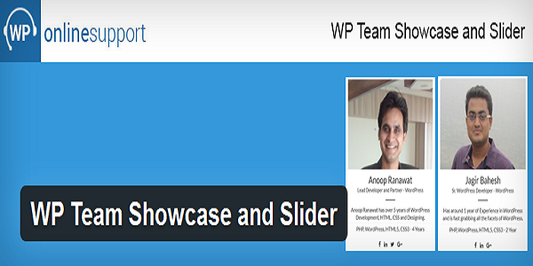 WP team showcase and slider